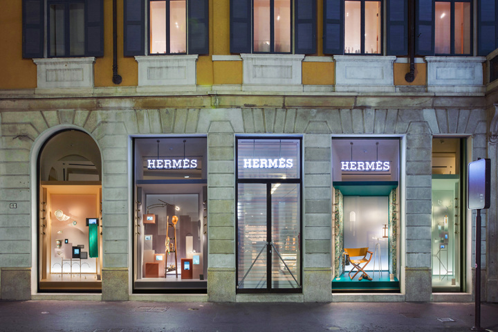 The shop windows created by Studio WM for Hermes at the Via Monte Napoleon store during Salone del Mobile and Expo 2015.