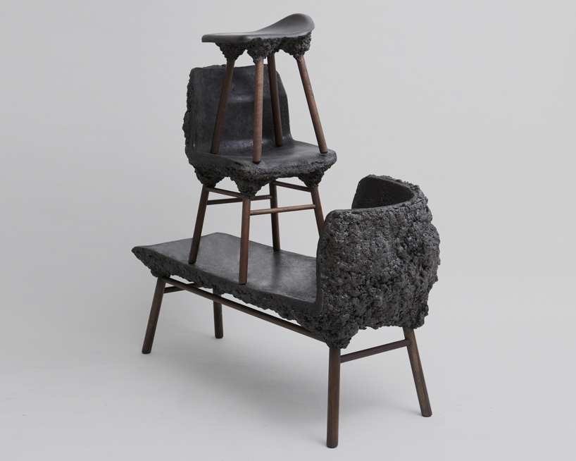 The  Marjan van Aubel  and  James Shaw  'Well Proven' chair from 2012 uses wood waste and a specific type of bio-resin to form a natural bubbling reaction. This image here shows the latest 'Stromboli' incarnation of the design - now in black with walnut legs and in stool, chair and chaise form.