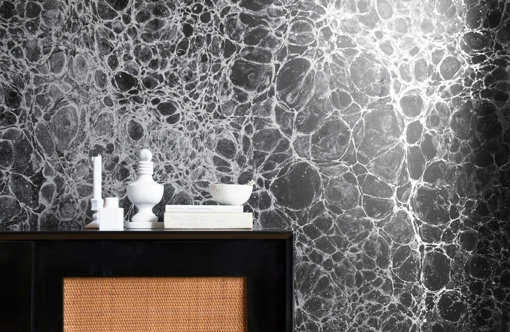 The 'Lunaris' collection by Calico Wallpaper was inspired by moonscape photography.