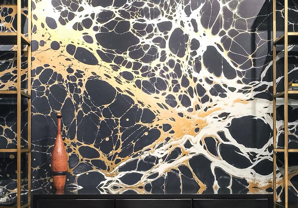 Calico Wallpaper's 'Night'wallcovering. Shimmering Obsidian was the inspiration.