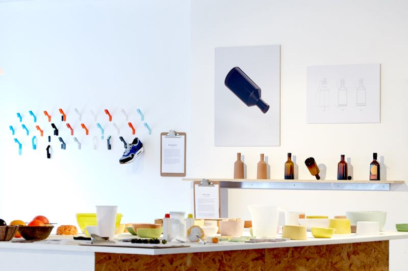 Mischer'traxler's 'Reversed Volumes' in the foreground with PostlerFerguson's 'Staeckler' shoe hook and Felix de Pass' 'Universal Bottle' projects in the background.