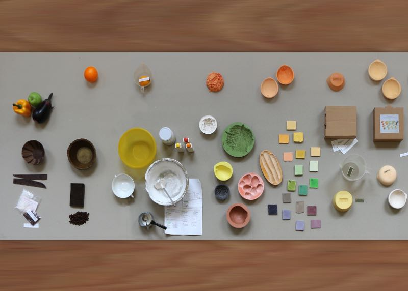 An overhead shot revealing just some of the steps in the process of designing mischer'traxler's 'Reversed Volumes' bowls.