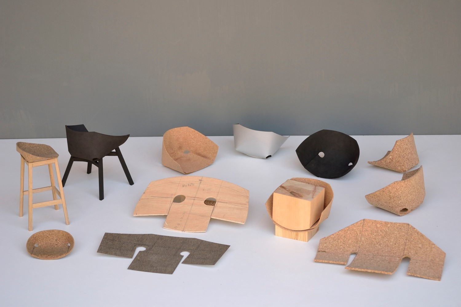 Scale models were used to develop the  flat and finished shape of  Carlos Otega's 'Corkigami'chair.