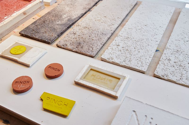 Tests to create the specific level of colour and texture desired by Pinch for their cast 'NIm' coffee table.