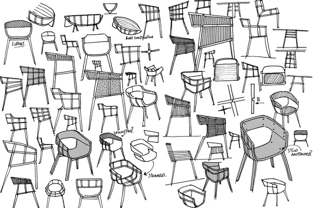 Hubert's drawings of the much acclaimed 'Maritime' chair for Casamania. The word process comes up a lot in any discussion with Hubert. He is famous for his rigorous, material driven approach.