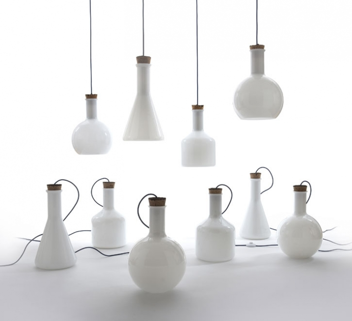 Another early design by Hubert is the 'Labware' range of pendant and table lights for  Authentics . Much copied, the glass and cork design cleverly interpreted chemistry vessels into domestic interior objects.