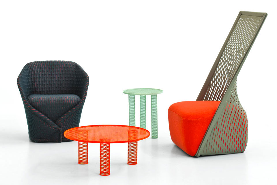 Hubert's output for Moroso for the year 2013. On the left: 'Talma' lounge chair. Centre: tables, and right, the 'Cradle' chair. This was the year Hubert researched perforations, expandable mesh and new fabrics.