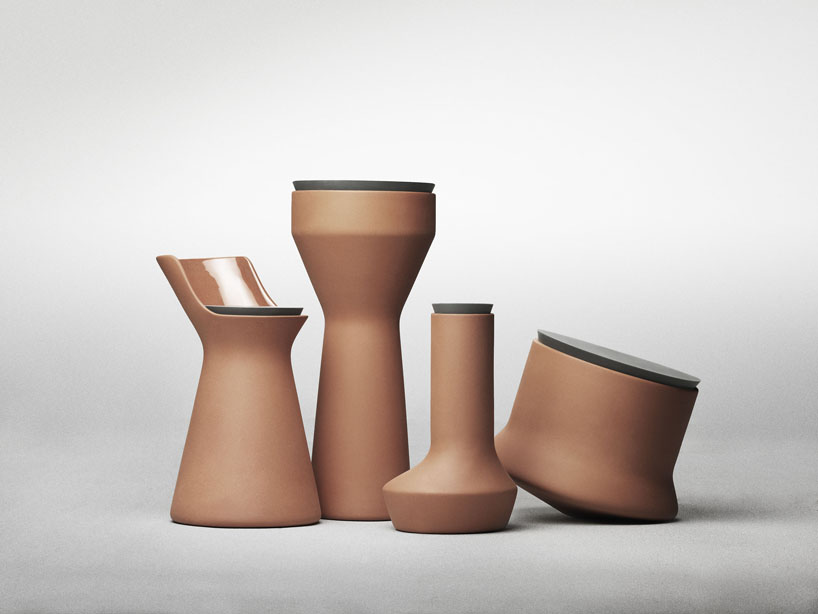 'Pots' range for  Menu . Terracotta vessels in unusual shapes, internally glazed and fitted with rubber lids.