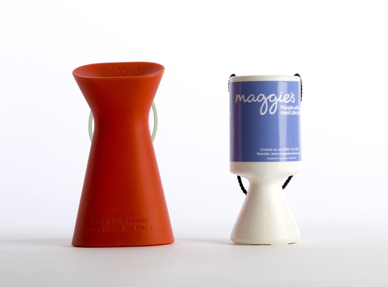 The new and the old Maggie's charity collection boxes.
