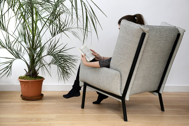 The 'Beau Fixe' armchair for Ligne Roset from 2015. Clever folded upholstery clamped within a fine metal frame provides a casual look without the bulkiness of most armchairs.