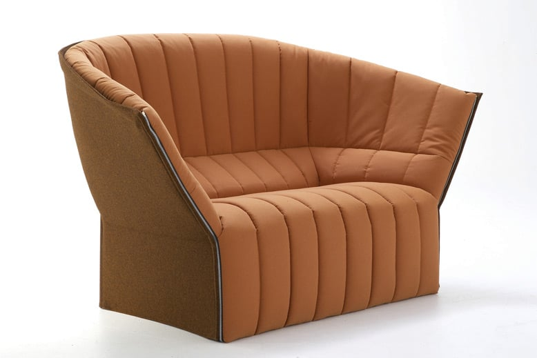 'Moel' sofa for Ligne Roset (2007). Bringing together a wonderful winged shape with zips and a quilt, the overall concept is reminiscent of a down filled jacket in furniture form.