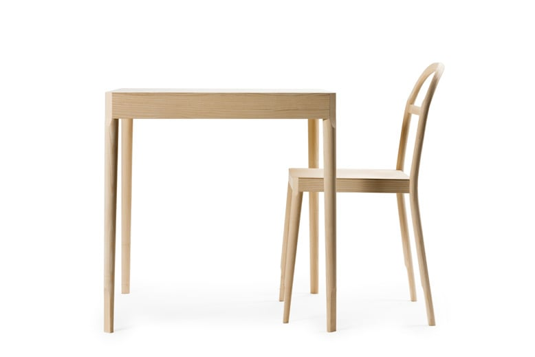 The 'Österlen' chair and table for Gäsnas (2011). Ash timber with faceted pieces to catch light,improve comfort and make assembly easier.