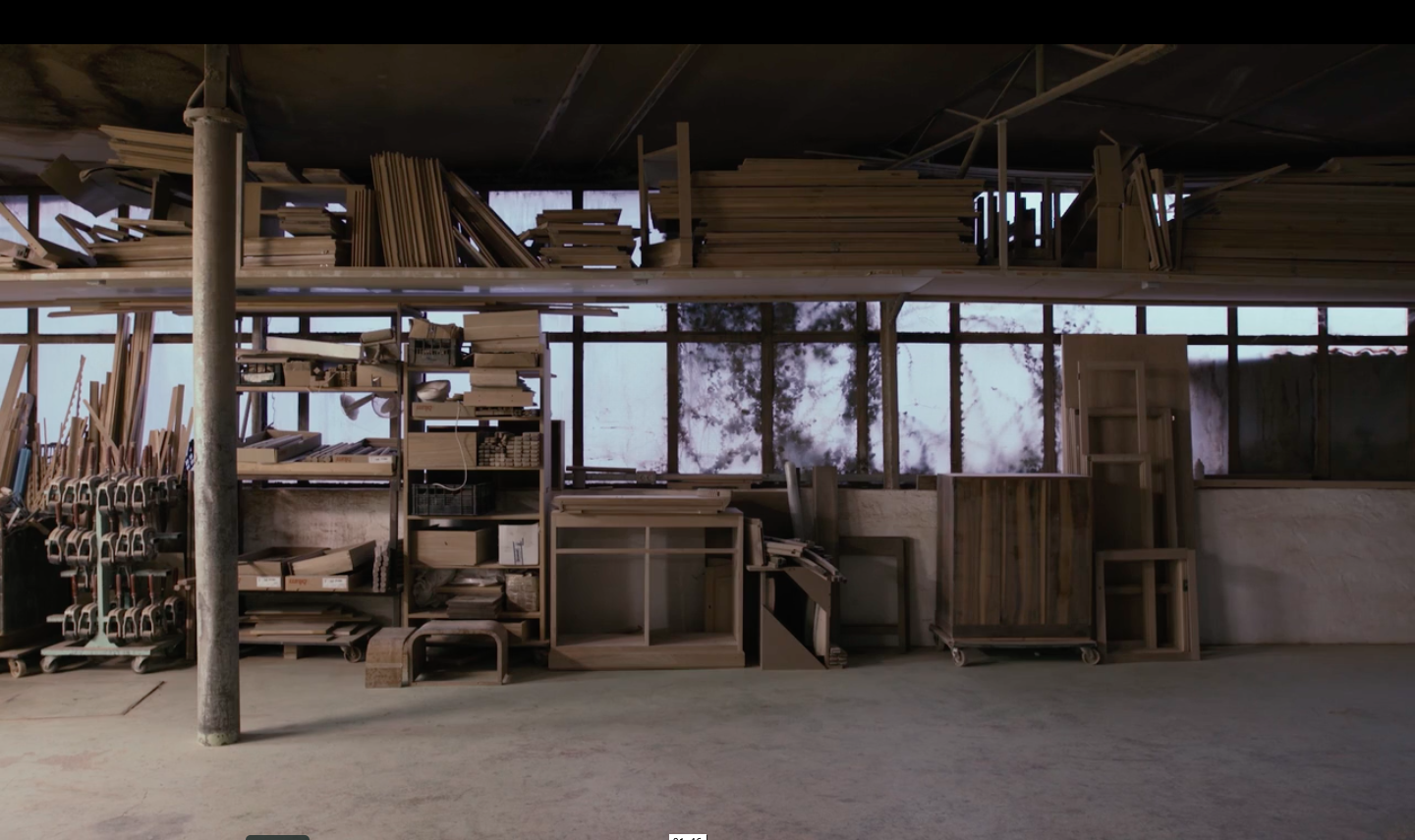 An atmospheric still of the  brand's Slovenian factory  from the gentle and absorbing film by Ben Stevenson.