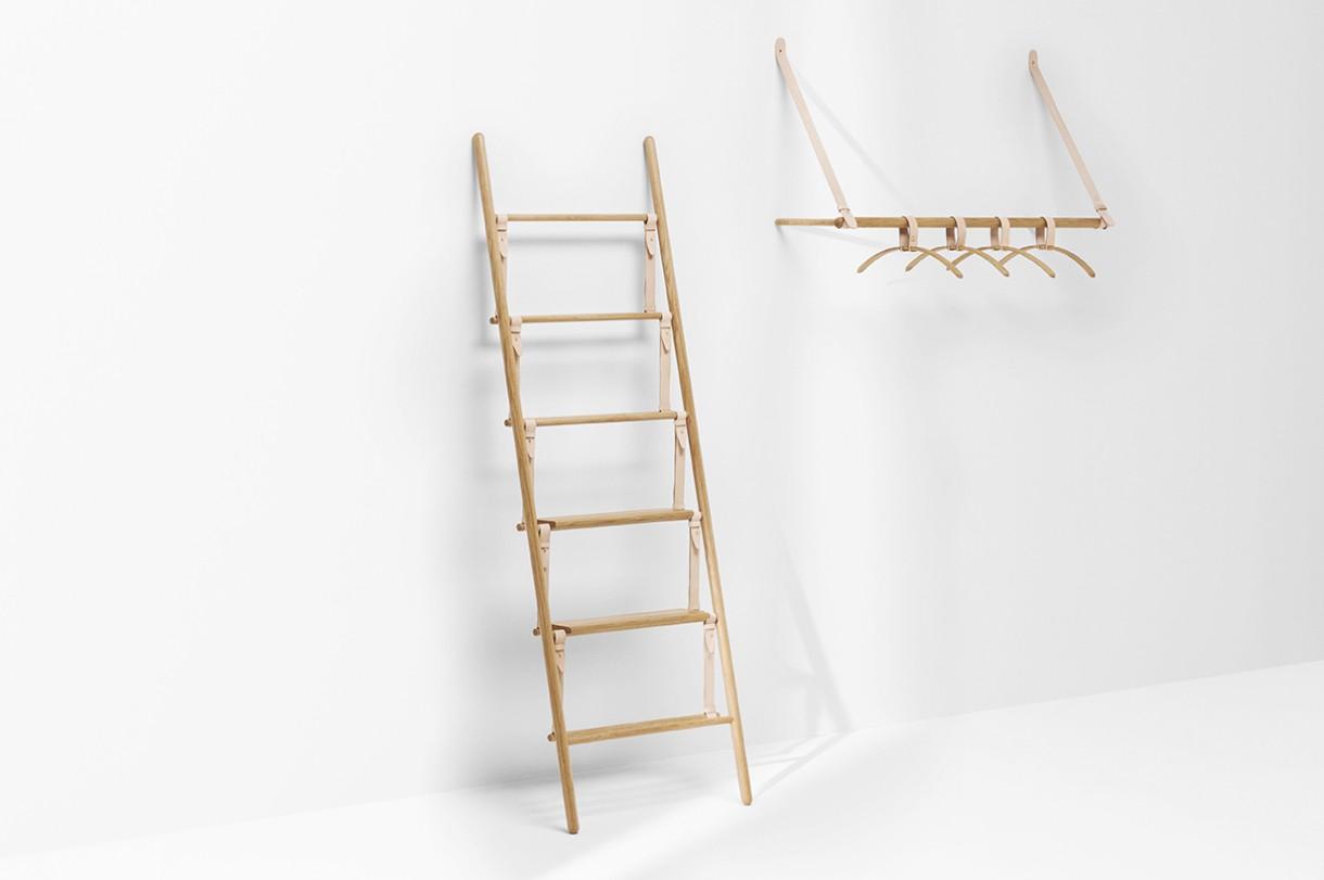 'Belt ladder' and 'Belt hanging wardrobe' designed by Jessica Nebel for H Furniture.