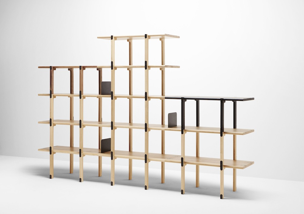 The 'Basic shelving system' showing the potential when stacked high and wide. The metal components can be specified in numerous colours or in polished brass or copper.