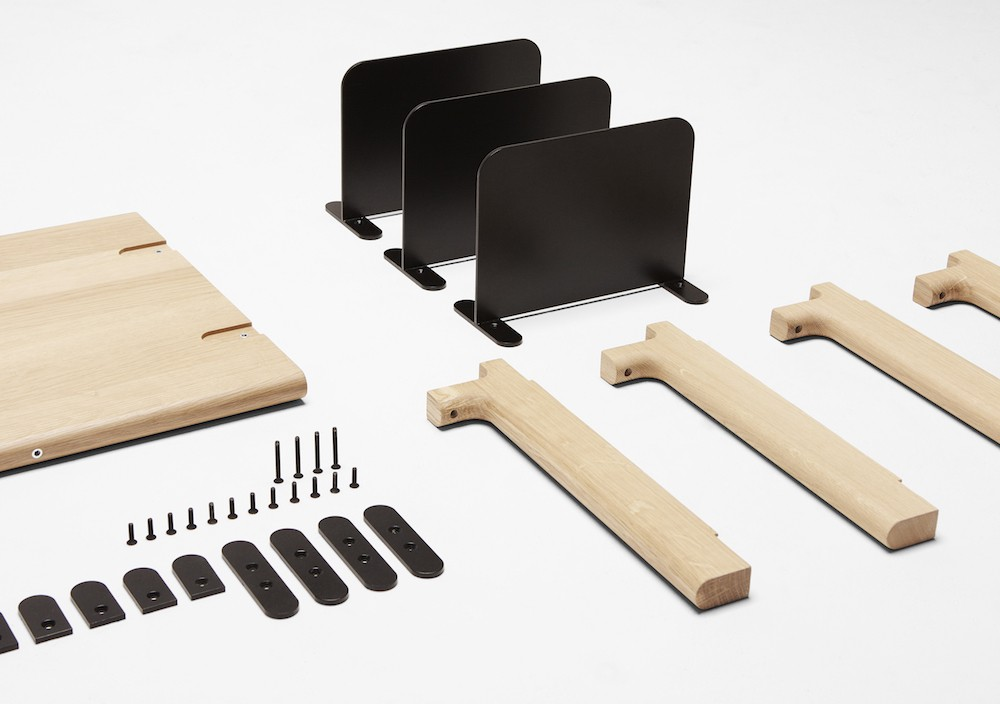 The component parts of the 'Basic shelving system' from H Furniture.