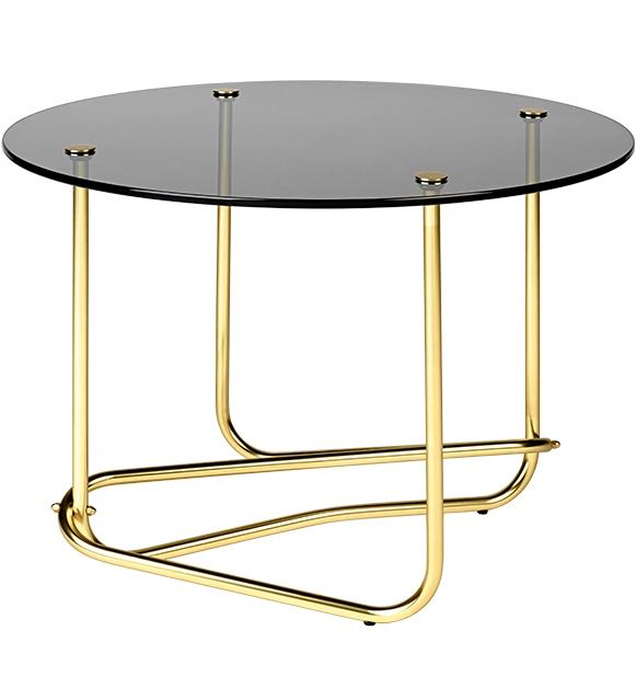 Mathieu Matégot's 'Lounge table' from 1960. Reissued by Danish brand Gubi. Shown here in brass and smoked glass