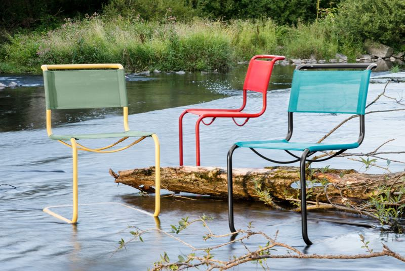 Thonet Germany released a number of Bauhaus era classics in a colourful indoor outdoor form. The collection is called  All Seasons  and includes tubular steel designs such as Mart Stam's S33 chair shown.