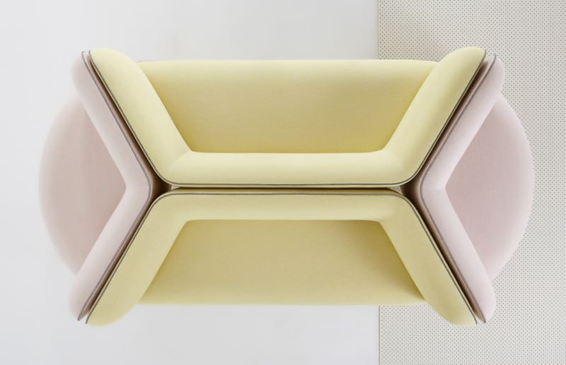 The collection is designed to work well in groups for office receptions and hotel environments. Rounded triangular shapes interlock to create seating islands but more conventional shapes are also offered.