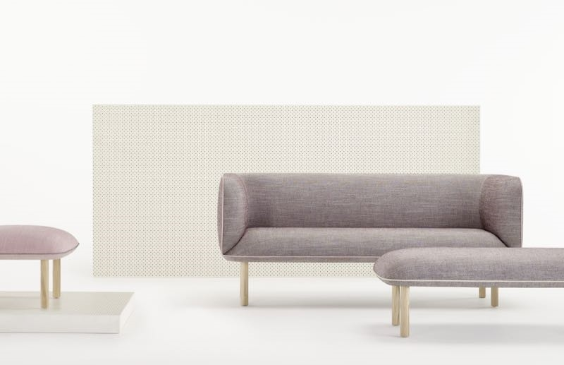 Dusty pinks and soft greys combine with natural ash legs. Piping details lift the pieces and add playfulness.