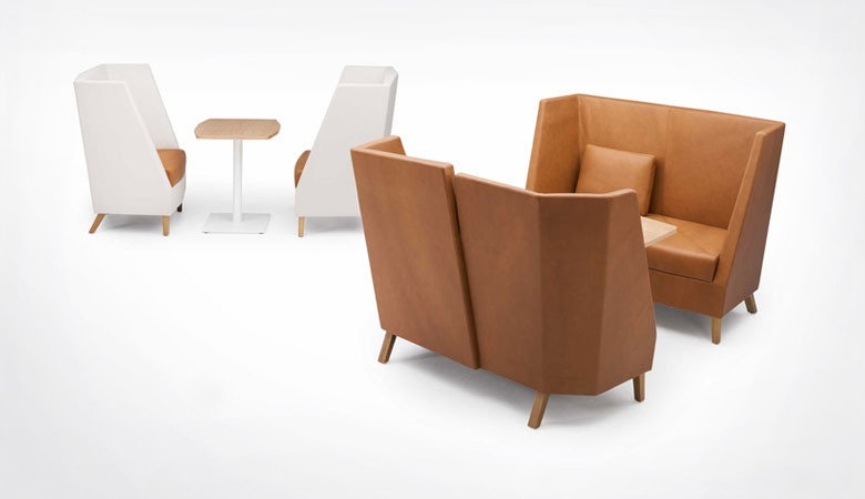 The '3000' collection of commercial sofas and armchairs for Zenith launched in 2014, features a wrap around origami style back. Fereday was part of the design team on this Schamburg & Alvisse design.