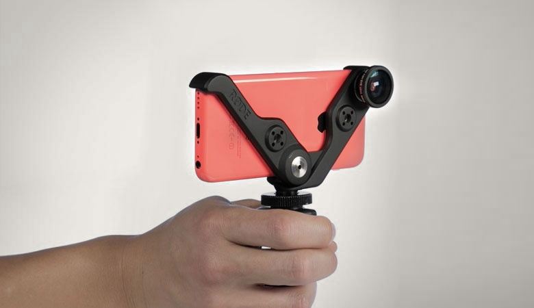 The 'RØDEGrip' for Røde microphones - a beautifully engineered product that adds a quality lens kit and multiple forms of mounting for the Apple iPhone (pistol grip, tripod, hot shoe etc).