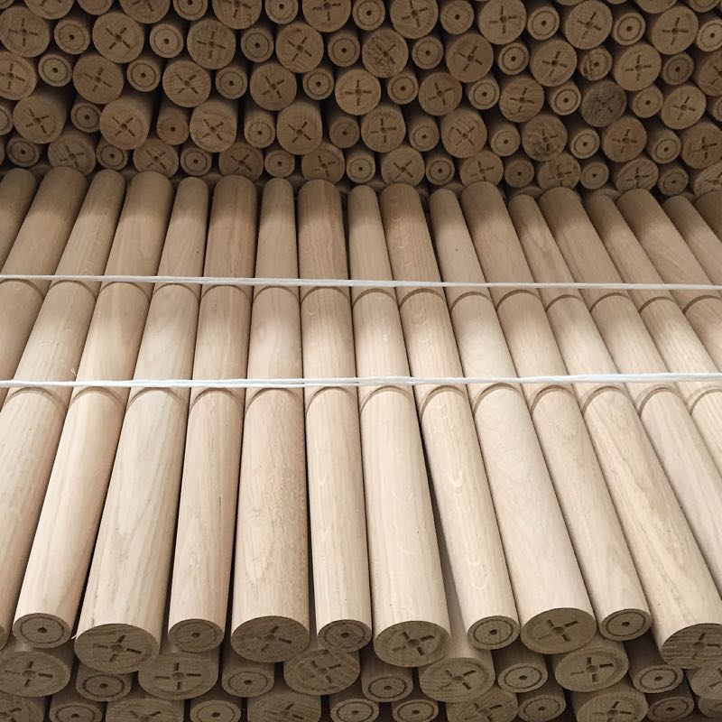 A stack of turned ash legs for Fereday's 'Wes' range. Manufactured by SD Element and distributed by Zenith.