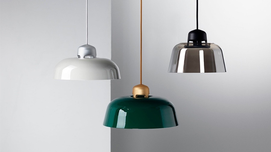 Sam Hecht and KIm Colon designed the w162 'Dalston' pendant with a LED light core in aluminium with slip on shades. These are available in mouth blown glass or powder coated metal in colours from the RAL chart.