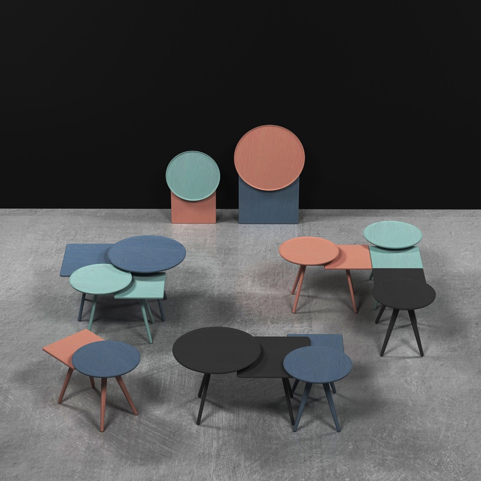 Markus Johansson's hybrid round and rectangular 'Mopsy' tables for  Karl Andersson & Söner.