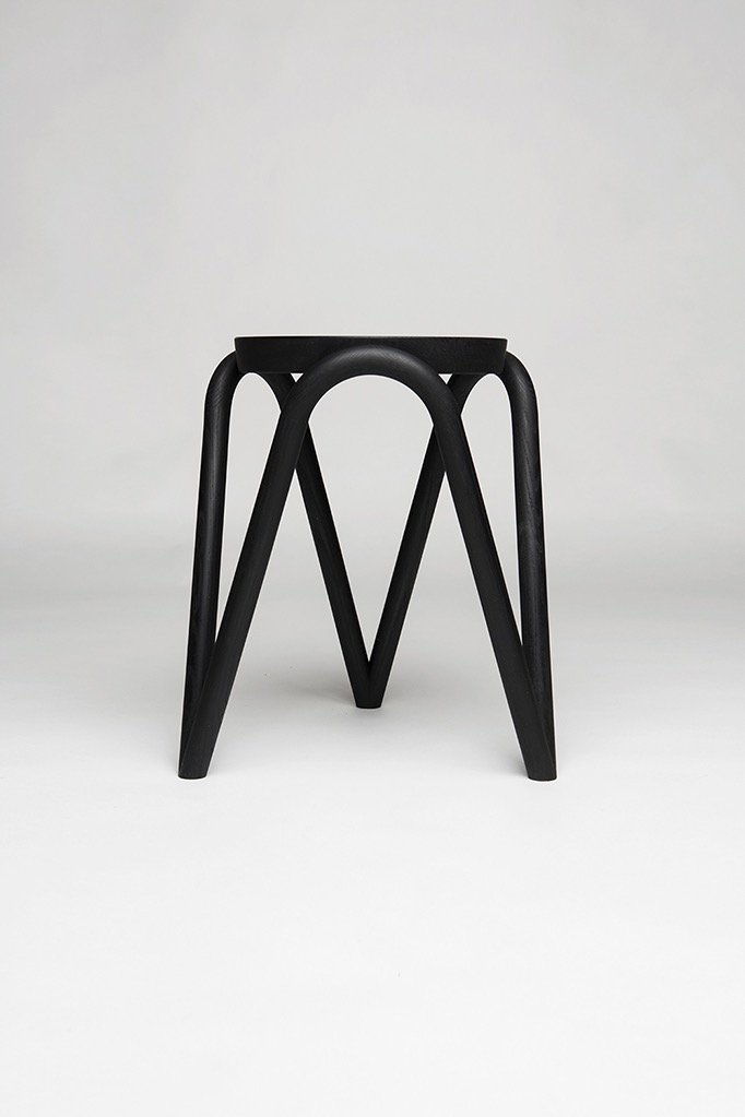 Something of a cross between a bentwood chair and the Artek 60 stool, the 'Vava' stool by Kristine Five Melvaer looks good in any position, stacked or on its own. Photo by Erik Five Gunnerud.