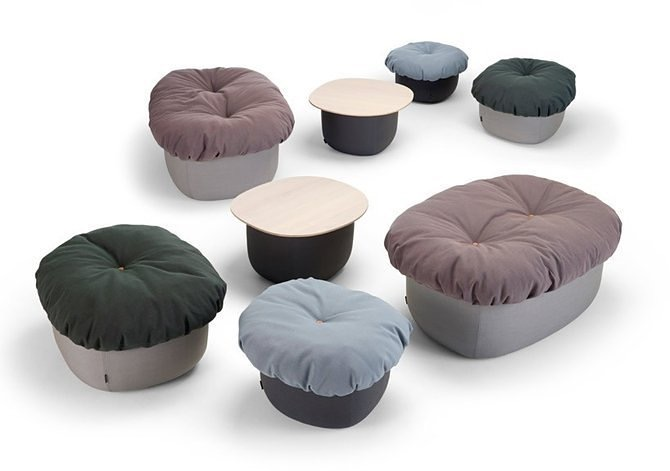 Cecilie Manz's 'Souffle' ottomans and side tables for Offecct.