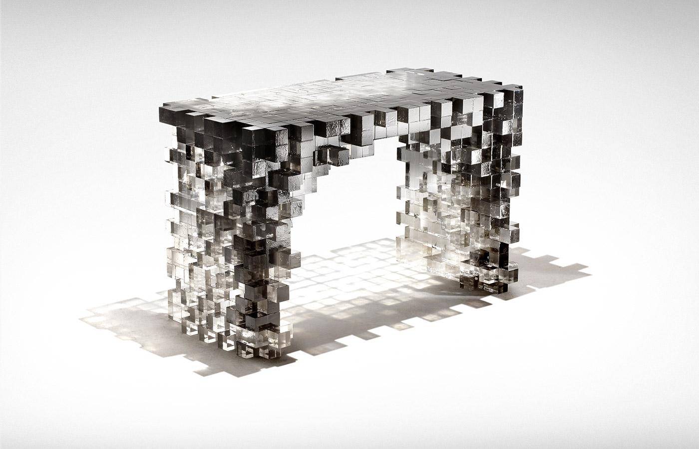 'Presenze' Desk, 2011. Design Nucleo - Piergiorgio Robino + Alice Carlotta Occleppo. Epoxy resin and pigment 120x60x75 cm. A unique piece exclusively for Nilufar Gallery, Milan.