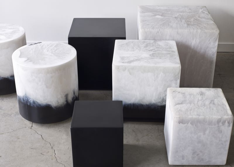 Martha Sturdy stools in dense black, marbled white and a lovely indigo and white mix.