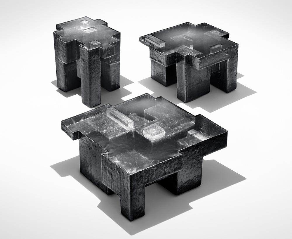 'Resinite' Black Resin Fossil coffee tables, 2011. Design Nucleo - Piergiorgio Robino + Stefania Fersini Fiberglass, polyester resin, pigment. Edition of 5 + 2 a.p. Exclusively for Gabrielle Ammann Gallery, Cologne.