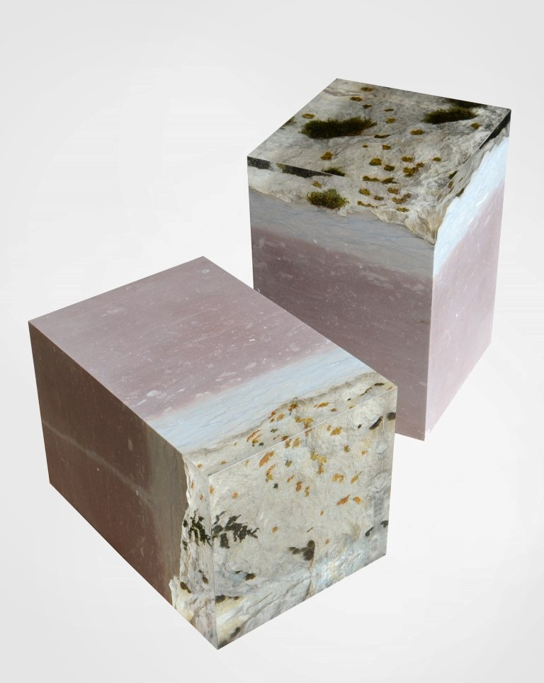 The characteristic pink of Dolomite stone. Alcoral have captured the living organisms on the stone in clear resin - like vegetables in aspic.