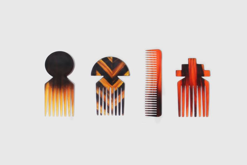 Studio Swine hair combs appropriately made from human hair and natural resin offer a new approach to objects commonly found in synthetic tortoise shell.
