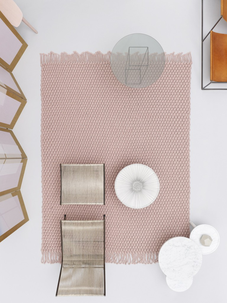 A Scheltens Abbenes image for Danskina featuring the 'Lucky' rug by Karin An Rijlaarsdam. Top right is a Muller Van Severen chair and the chair/footstool combo bottom left is perhaps Poul Kjaerholm's 'Holscher'.
