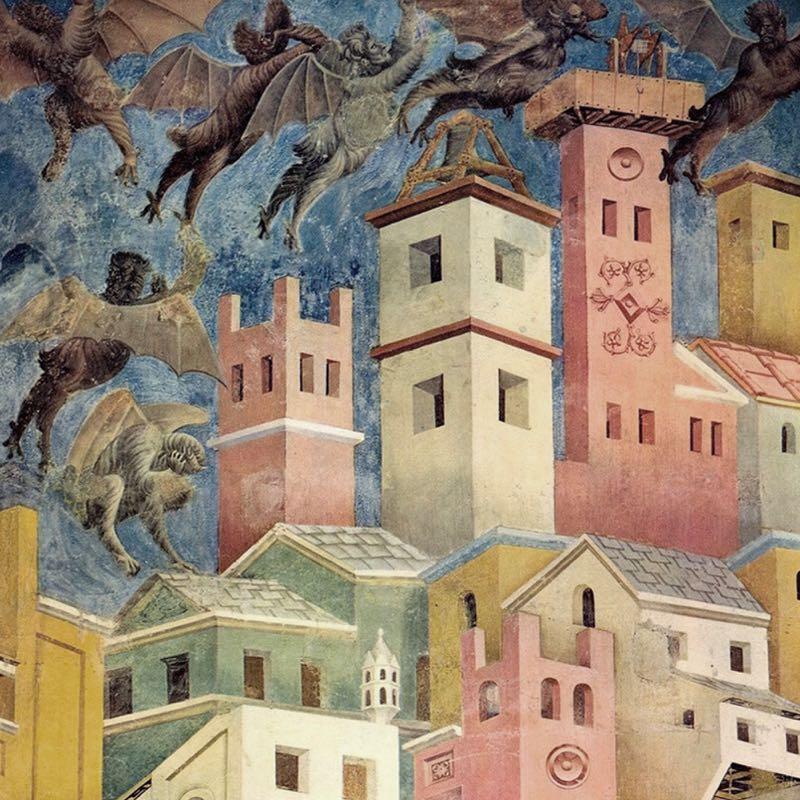 Giotto's 'The expulsion of the devil from Arezzo', 1297.
