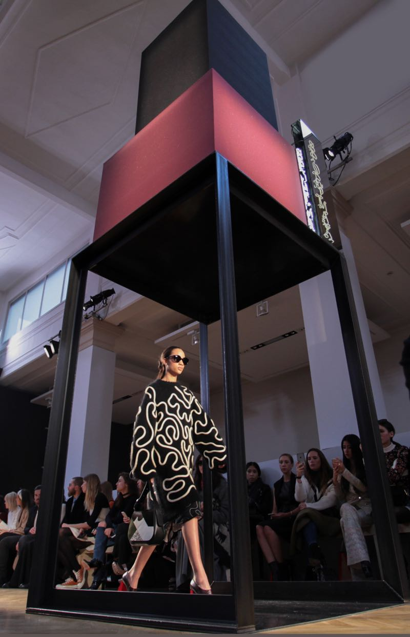 One of four steel and industrial foam towers at the Sportmax Autumn / Winter 2016 Ready to Wear show with set design by Formafantasma.