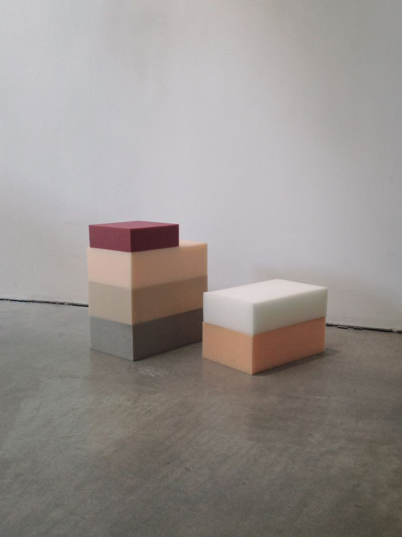Samples of industrial foam showing the quite beautiful colour variations. Each colour is a different density.