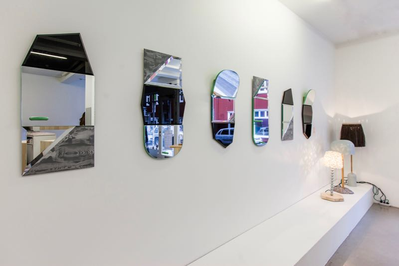 Examples of some of the mirror combinations from the 1+1+1 project with a few of the lights in the background.
