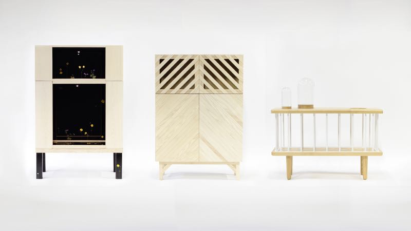The three original cabinet designs by (from left to right): Hugdetta, Petra Lilja and Aalto Aalto.