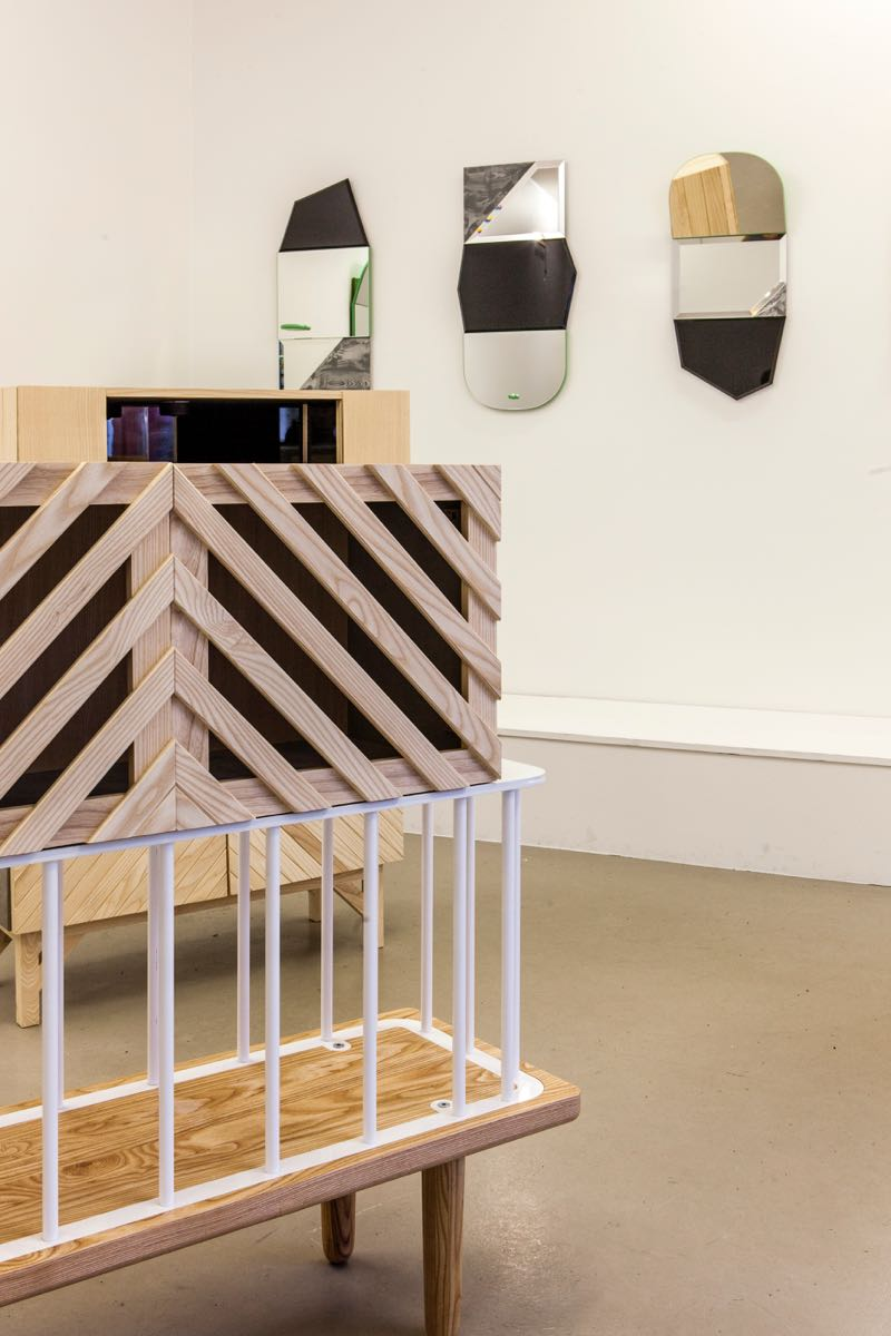 1+1+1 Mash Up cabinets and mirrors on display at Spark Design Gallery, Reykjavik.