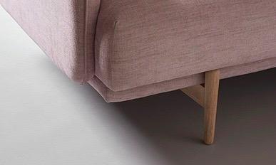 A detail of the front leg of the 'Hold' sofa by 365º North for Won Design.