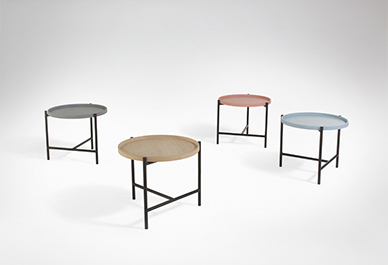 'Cross' side tables by 365º North in Natural oak top or lacquered in blush, grey or pale blue. The removable top becomes a tray.