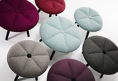 The Pumpkin stool by 365 º North for Won Design. The central button can be contrasting or matching.