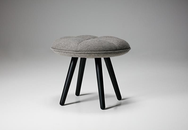 The Pumpkin stool by 365 º North for Won Design. The puffy lumps of the seat resemble risen pie crust. The similarity is emphasised by stitching on the seat that divides it into six slice-like segments.