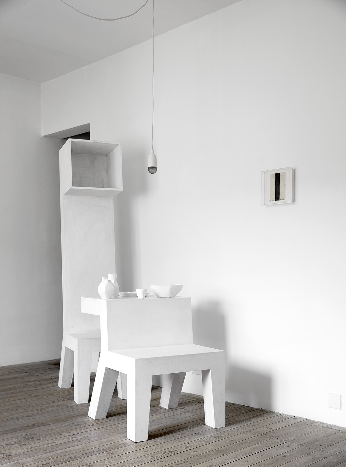 The guest apartment above   Sofie Lachaert Gallery in Tielrode Belgium, featuring numerous pieces by Bram Boo and Maarten Van Severen. Lachaert and D'Hanis created the calm white painted space to allow exhibiting artists to stay in a poetic environment. Photography Sharyn Cairns.