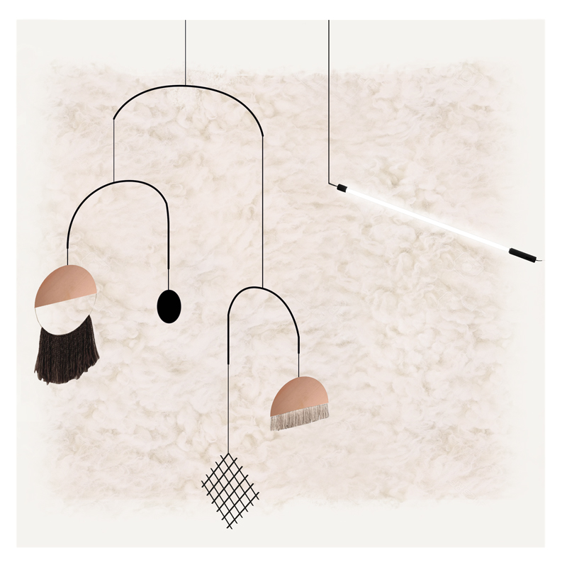 A sketch of new hanging pieces by Studiopepe for cc-tapis.