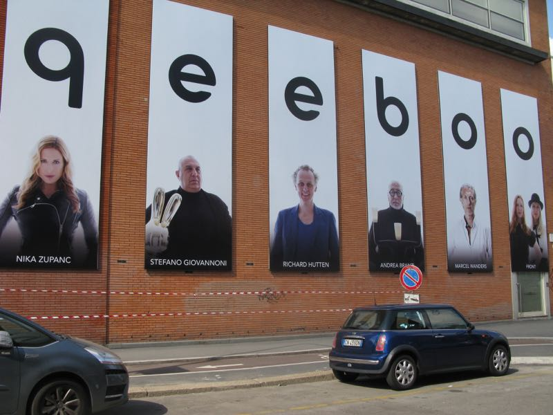 Larger than life advertising boards in Tortona launching Stefano Giovannoni's new brand queeboo.